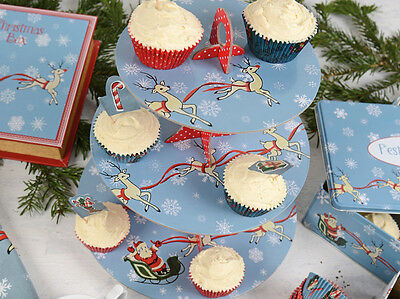 KATIE ALICE Yuletide Christmas Sleigh Ride 3 TIER CAKE STAND