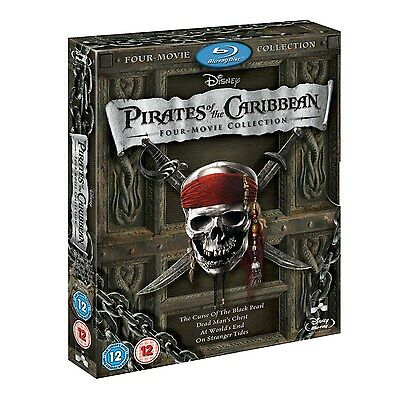 PIRATES OF THE CARIBBEAN Brand New 4-MOVIE BLU-RAY COMPLETE COLLECTION