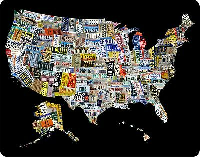 """License Plate Art Map of the U.S. LARGE 12"""" x 15"""" metal sign"""