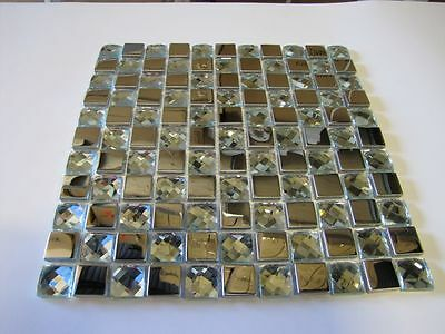 5 FULL SHEETS = 5 SQ/F STUNNING Stainless Steel/ GLASS Mosaic Tiles on Mesh
