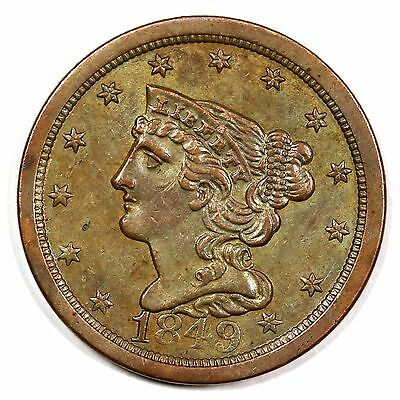 1849 c-1 Braided Hair Half Cent Coin 1/2c