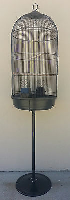 Large Round Bird Cage with Stand Finch Canary Cockatiel Parakeet DomeTop BLK 331