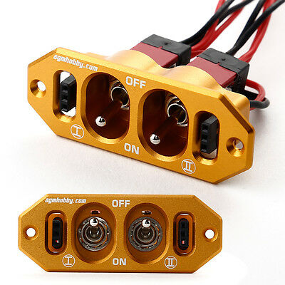 AGM Heavy Duty J-001 Dual ON-OFF Power Switch w/ Fuel Dot for RC ModelPlane Gold