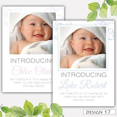 Personalised Photo New Baby Boy Girl Birth Announcement Thank you Cards