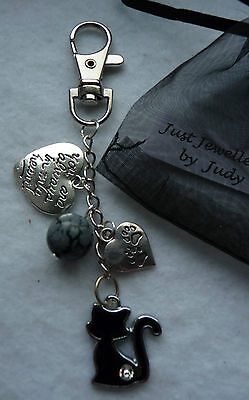 Memorial charm for a beautiful Black Cat including charms HandMade