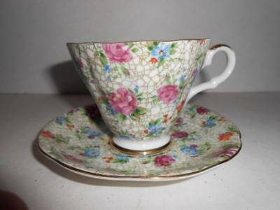 LEFTON CHINA TEA CUP AND SAUCER CHINTZ PATTERN 2119 CHIP ON CUP