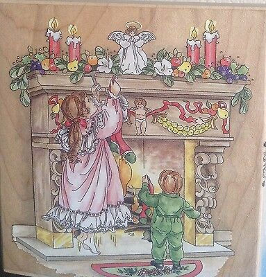LG. Christmas Rubber Stamp*Stamps Happen HANGING THEIR STOCKINGS #80185/Unused