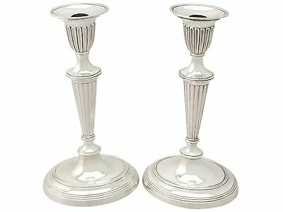 Antique, Pair of Spanish Silver Candlesticks - Adams Style - 1800-1849