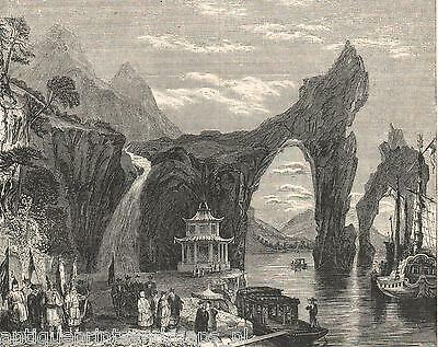 Antique print chinese landscape Asia China Thong-Thing-Chan 1845 holzstich