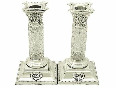 Antique, Pair of Sterling Silver and Glass Candlesticks, Victorian