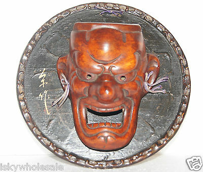 VINTAGE CHINESE WOOD HAND CARVED MASK MOUNTED ON SIGNED PLAQUE