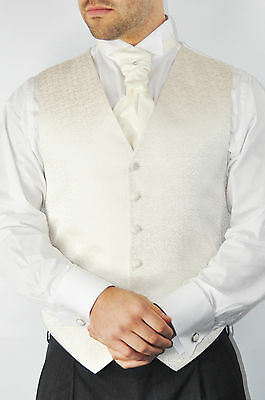 Men's Wedding Formal Ivory Scroll Waistcoat Worn Once All Sizes Cravat Hankie
