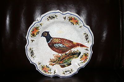 VINTAGE HEAVY PLASTIC PLATE OF A PHEASANT FROM ITALY