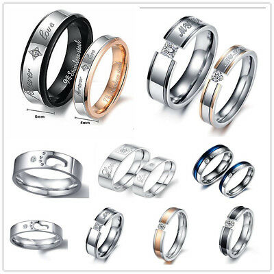 Forever LOVE Couple Ring Stainless Steel promise Wedding Ring Engagement Band