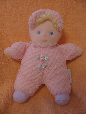 """Baby Eden Doll 9"""" --Lovey -Pink Terry Cloth-Lace -Embroired Face-Hair -Rose Buds"""