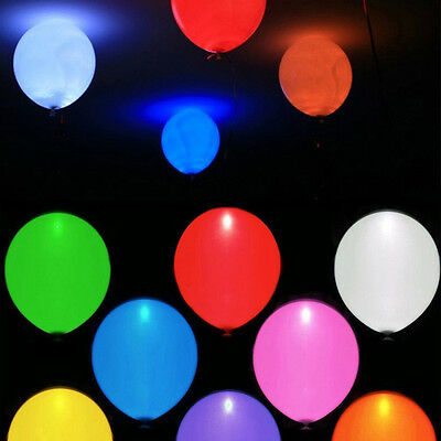 Hot LED Air Hellium Party Balloons Wedding Light up Decoration 5/Pack Multicolor