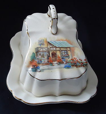 Lancaster & Sandland Butter Dish Cream With Country Cottage Design.