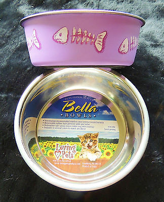 Set 2 Small Cat Food/Water Bowls Loving Pets Bella Designer Dishes Fish Purple