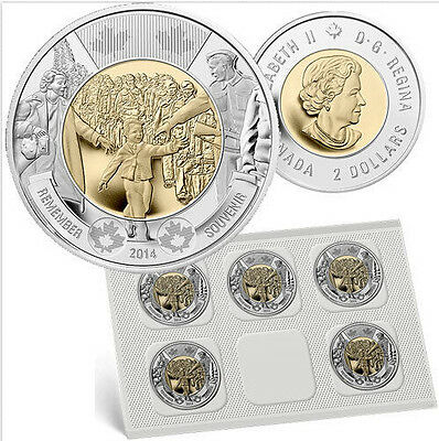 2014 Canada $2 Wait For Me Daddy Circulation coin Pack of 5 Toonie Uncirulated