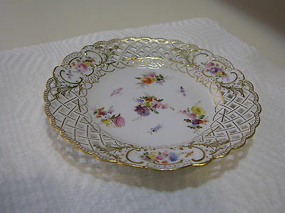 "Antique  Meissen Hand Painted Reticulated Plate Flowers & Insects 6"" Germany"