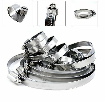 x10 Stainless Steel Hose Clips Pipe Clamps - Choose Size - 304ss - British Type