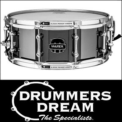 "MAPEX Armory Series ""TOMAHAWK"" 14""x5.5"" Steel Snare Drum Black Chrome Finish NEW"