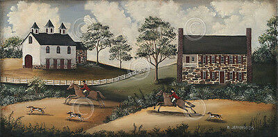 Fox Hunt by Barbara Jeffords Country Vintage Horse Print Poster 10x20