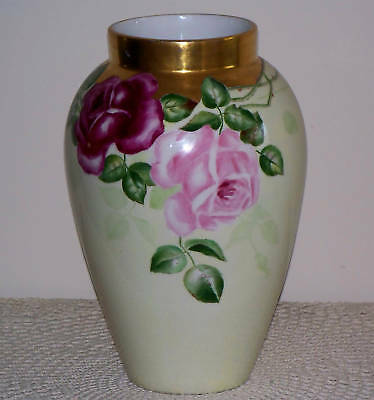 """D&C LIMOGES Hand Painted Pink Roses Large Vase Signed 11 1/2"""" TALL LOTS GOLD"""