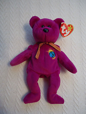 1999 Millennium Beanie Baby Collectible Tush Swing Tag 4th Gen stiff gold ribbon