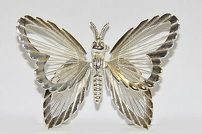 Vintage MONET Metal Signed Silver Tone Filigree Butterfly Brooch Pin