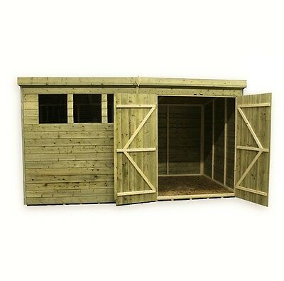 Garden Shed 10X6 12X6 14X6  Pressure Treated T&g Pent Double Door Right