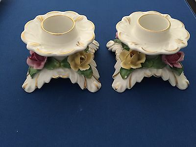Pair Of Dresden Alka China Flower Candle Holders