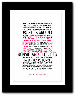 ELTON JOHN Bennie And The Jets ❤ song lyrics typography poster art print - A1 A2
