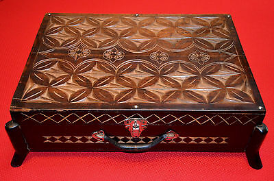 """Antique German Hand Carved Footed Wooden Sewing Or Large Jewelry Box - 22"""" x 16"""""""