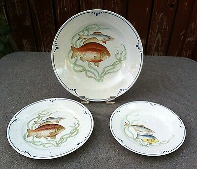 Fitz & Floyd La Mer ~ Set Of 3 ~ Soup Bowl, Salad Plate & Bread And Butter Plate