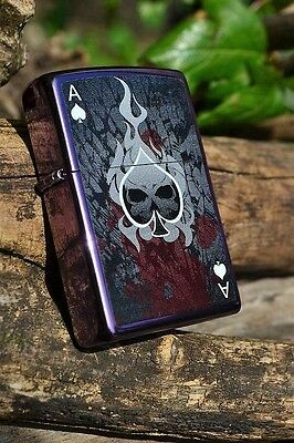 Zippo Lighter - Ace of Death - Purple Abyss - Skull -  Ace of Spades - # 24747