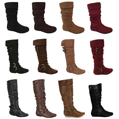 Womens Boots Mid Calf Fashion Flat Heel Riding Faux Leather Knee New Shoes Size