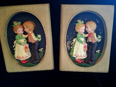 Vintage hard plastic doll wall art hanging picture frame 3D Holly Hobbie type