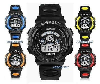 Kids School Boys Girls Digital LED Non Waterproof Sports Wrist Watch UK Seller