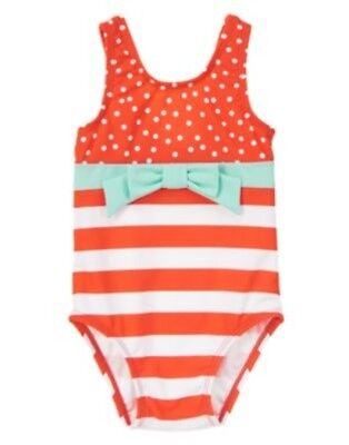 Gymboree Pinwheel Pastels Coral Stripe N Dot 1-Pc Swimsuit 6 12 18 24 2T Nwt