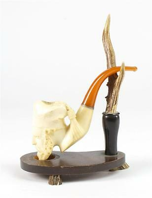 Meerschaum Beautiful Vintage Carved Pipe w/Deer Antler Stand -NICE!
