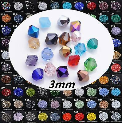 Bulk 100pcs 3x2mm Bicone Faceted Crystal Glass Findings Loose Spacer Beads