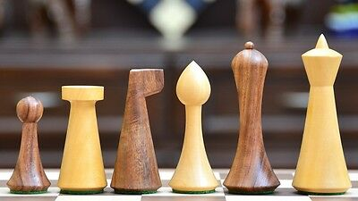 Reproduced Modern Mid Century Minimalist Hermann Ohme wooden weighted Chess Set