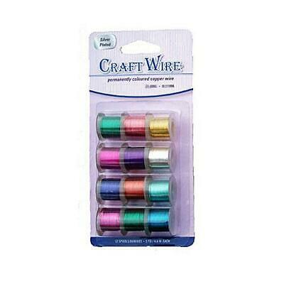 12 x Mixed Plated Copper 0.64mm x 4.5m Round Craft Wire Spools WPACK2