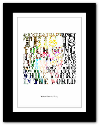 ❤ ELTON JOHN - Your Song #2 ❤ song lyrics typography poster art print - A1 A2 A3