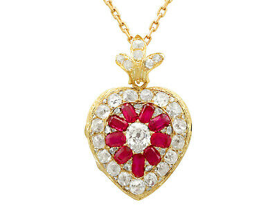 Antique Victorian 4.55 Ct Diamond and Synthetic Ruby 18k Yellow Gold Pendant