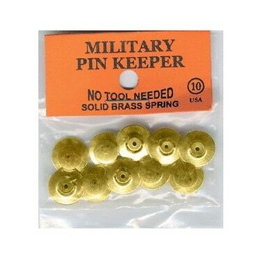 Set of 10 Military Biker Solid Brass Pin Badge Keeper Keepers Saver USA