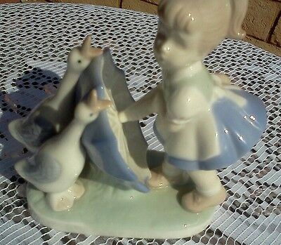 Little Girl and Geese*Glossy Porcelain Figurine