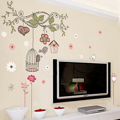Large Birdcage Vines Flowers Mural Wall Stickers Kids Room Decor Vinyl Decal pf