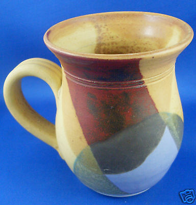 STAMPED Handcrafted STONEWARE POTTERY Abstract Multi-coloured Mug VG - In Aust